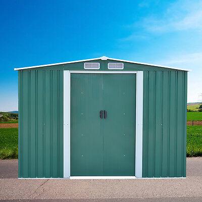 8'x10' Outdoor Garden Storage Shed Tool House Sliding Door Steel New