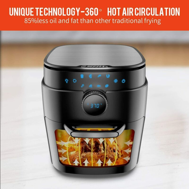 Large 12.7 QT 8-in-1 Electric Air Fryer Oven 1800W Oil less w/ 6 Accessories US