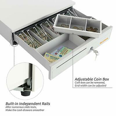 16 Coin Cash Drawer Box 5 Bill 5 Money Lock Storage With Removable Tray White