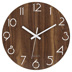 12 Silent Wall Clock Wooden Non Ticking Quality Numeral Design Round Wall Clock