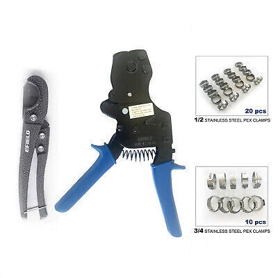Pex Ratchet Cinch Clamp Crimper Tool Kit Pipe Cutter30 Pcs Ss Cinch Clamps