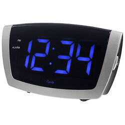 75904 Equity by La Crosse AC Powered Jumbo Blue LED Digital Alarm Clock with USB