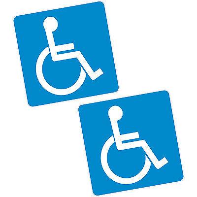 """2 x Disability Blue Badge Vinyl Sticker 6"""" 150mm Sq. Car Van Home Motability"""