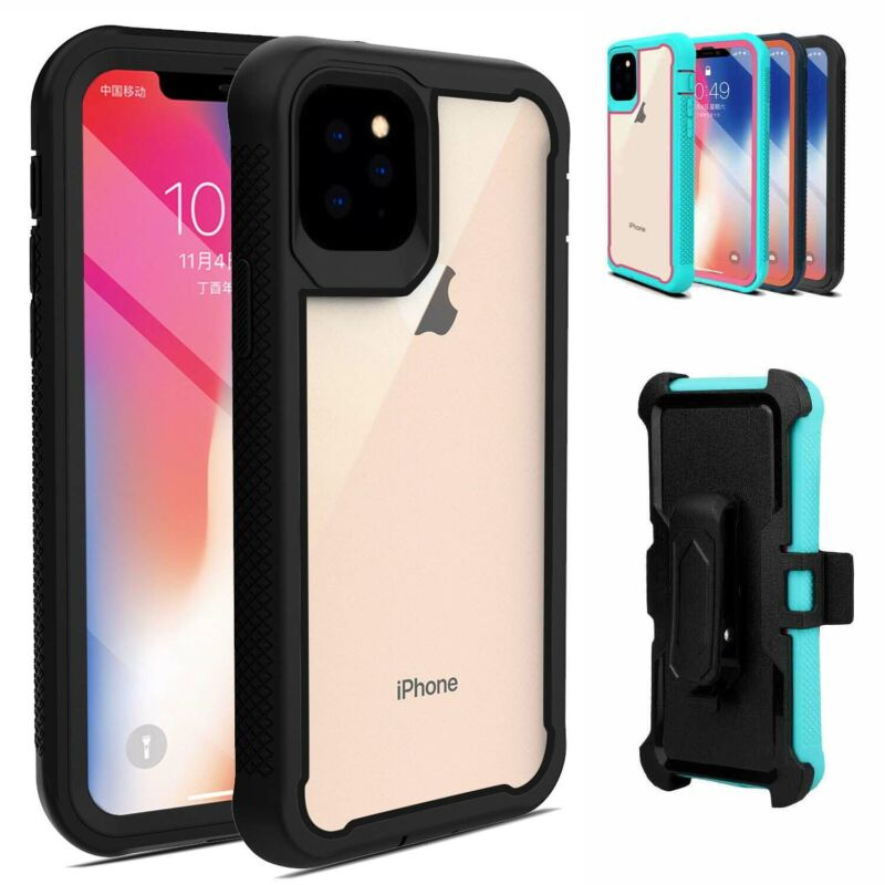 For iPhone 11 Pro Max ,12 Pro ,11 Case Hybrid Heavy Duty Clear Belt Clip Cover