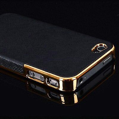 $5.95 - Frame Luxury Leather Chrome Hard Back Case Cover For iPhone 5 5S Black Gold