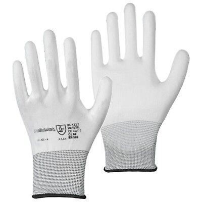 Beschichtete Arbeits-handschuhe (12 Paar Handschuhe Nylon PU beschichtet Montagehandschuhe Arbeitshandschuhe weiß)
