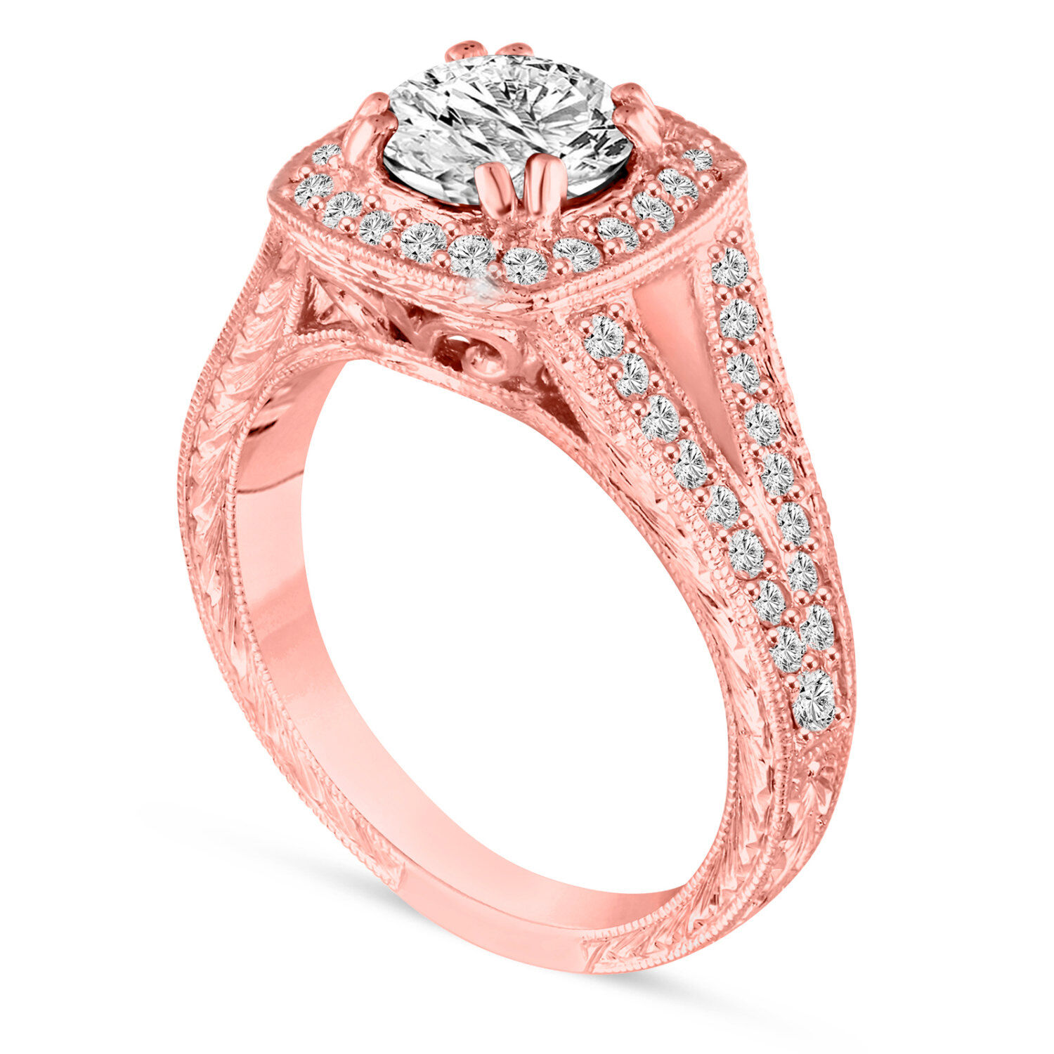1.46 Carat Diamond Engagement Ring 14K Rose Gold GIA Certified Vintage Engraved