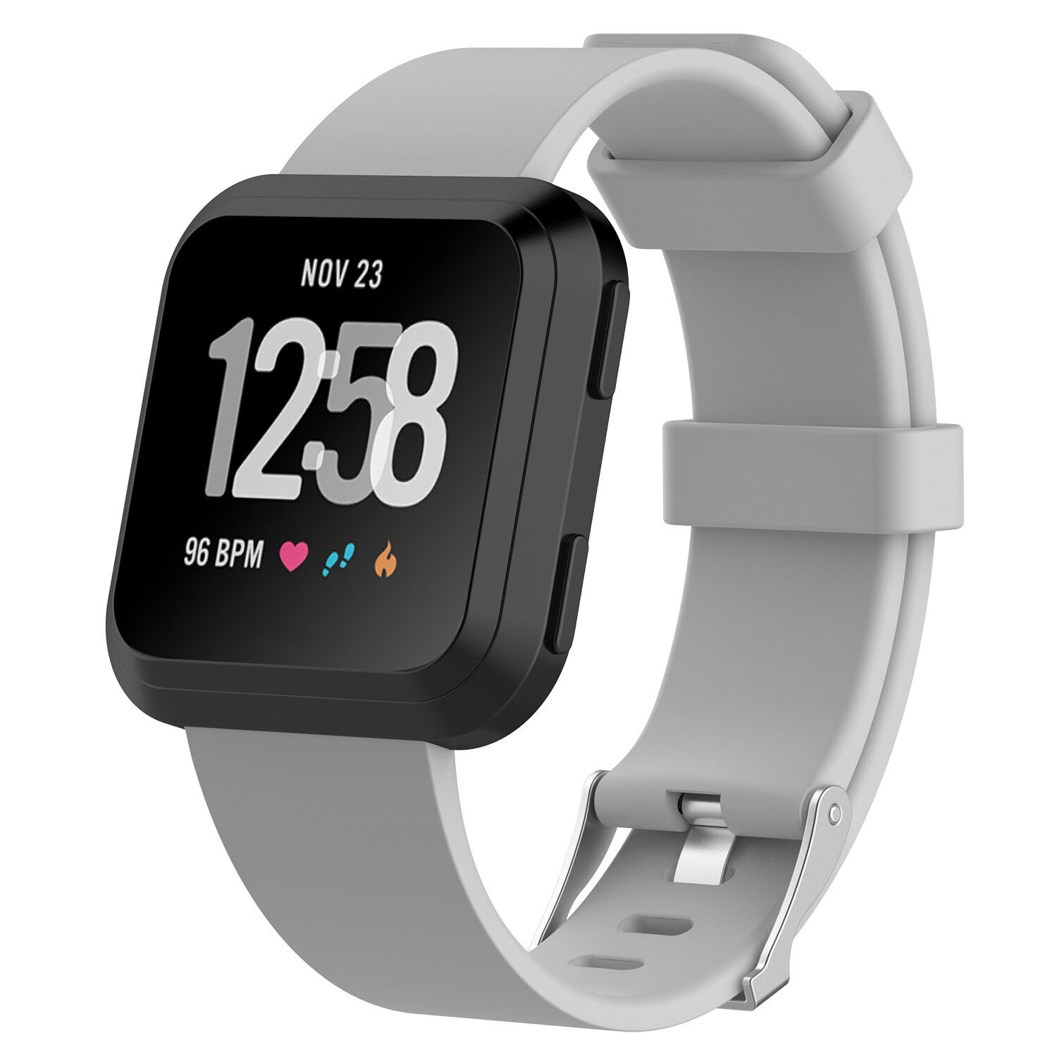 Replacement Silicone Rubber Classic Band Strap Wristband For Fitbit Versa Watch Gray