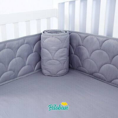 "Baby Breathable Crib Bumper Pad Protector Crib Padded Liners 4PCs 52"" x 28"" Gray"