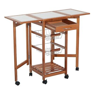 HomCom Folding Rolling Trolley Kitchen Cart Table Island Mahogany