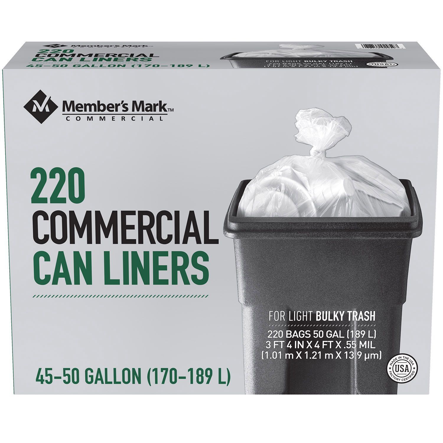 Member's Mark Commercial Can Liners 45-50 Gallon 220 ct Clea