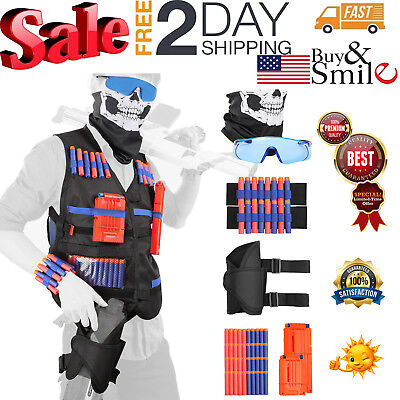 All in One Nerf Tactical Vest Kit Guns War Game With Foam Darts Mask and Glasses