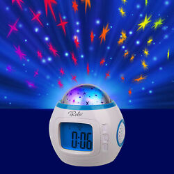 Kids Music LED Sky Star Night Light Projector Lamp Alarm Clock sleeping music US