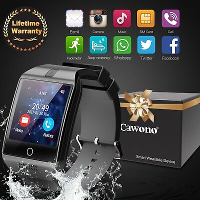 Curved Screen Q18 GSM SIM TF Card Smart Wrist Watch Phone for Android IOS+Camera