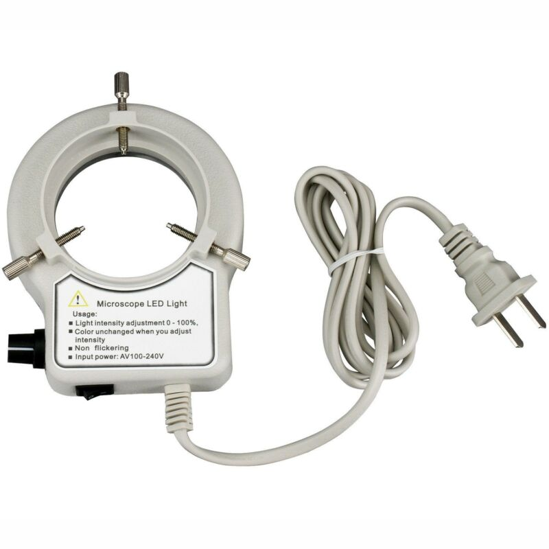 AmScope 56-LED Reinforced Microscope Dimmer Ring Light w Ring Adapter 110V-240V