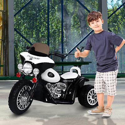 Moto Eléctrica Coche Triciclo Niños + 3 años 6V Metal + PP Negro Blanco