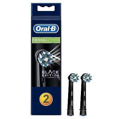 2X Oral-B Crossaction Recambio Cepillo de Dientes Eléctrico Cabezal Pack, Negro