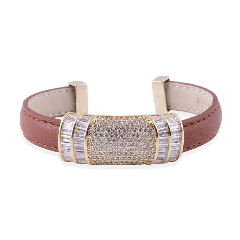 "Cubic Zirconia Goldtone Brown Genuine Leather Cuff Bangle Bracelet Gift 6.50"""