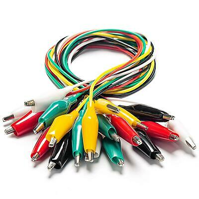 Electrical Alligator Clips Wires Test Leads Soldered 21 Inches 5 Colors 10 Pcs