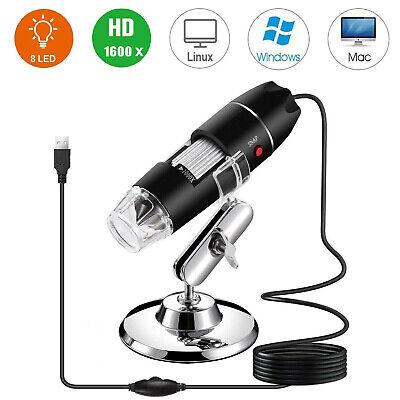 1600x Hd 1080p 8 Led Usb Digital Microscope Magnifier Endoscope Camera W Stand