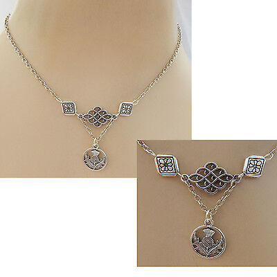 Celtic Scottish Thistle Pendant Necklace Jewelry Handmade NEW Silver Knot Chain