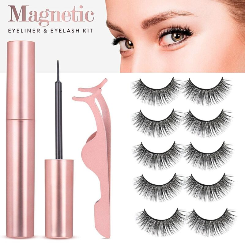 5 Pairs Magnetic Eyelashes Set with Magnet Eyeliner & Tweezer Kit Waterproof