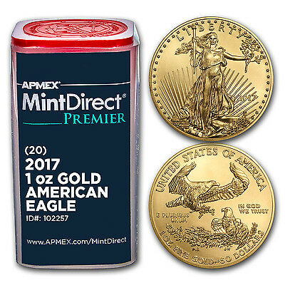Click now to see the BUY IT NOW Price! 2017 1 OZ GOLD AMERICAN EAGLE 20 COIN MINTDIRECT PREMIER TUBE   SKU 102257