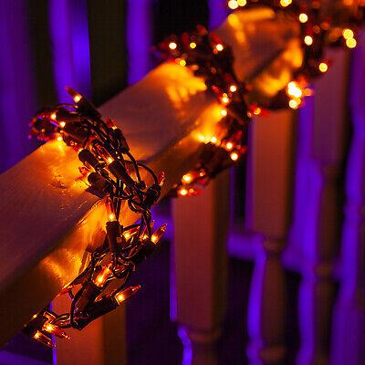 Orange Halloween String Lights Garland, 300 Party Lights, 9 Ft, Black Wire - Halloween Garland Black
