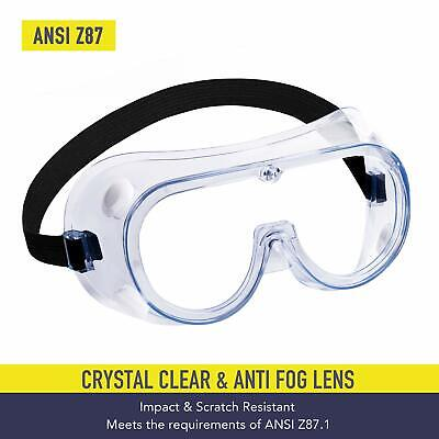 Safety Goggles Over Glasses Lab Work Eye Protective Eyewear Clear Lens 1pair