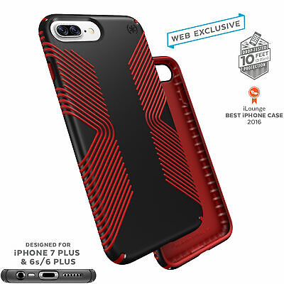 Speck Presidio Grip Classic Edition iPhone 7 Plus Cases Black/Dark Poppy Red Classic Cell Phone Case