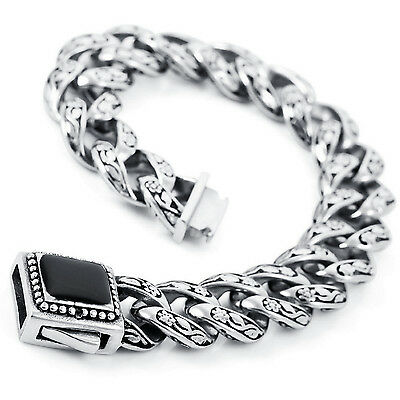 MENDINO Heavy Men's Stainless Steel Enamel Bracelet Flower Chain Bangle Silver