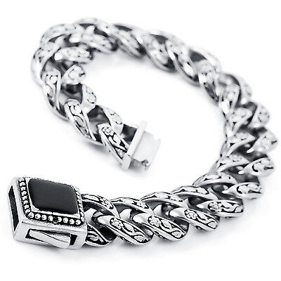 MENDINO Men's 316L Stainless Steel Enamel Bracelet Flower Chain Bangle Silver