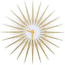 Midcentury Modern Starburst Clock Contemporary Sunburst Abstract Wood Wall Decor