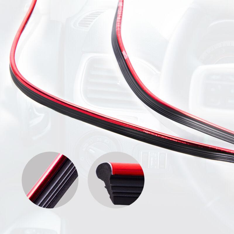 Red Car Interior Door Gap Edge Line Insert Molding Trim Strip Deco Accessory