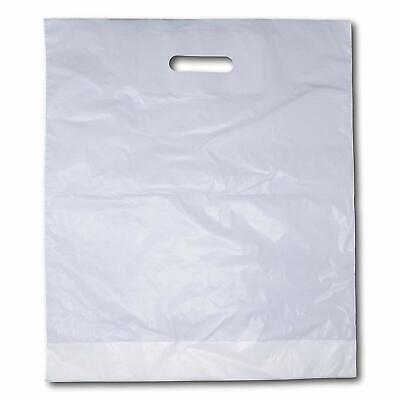 1000 x Strong White 'Patch' Handle Party Plastic Carrier Bags - 15
