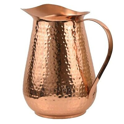 Artisan's Anvil Copper Pitcher w/Copper Handle, Pure 100% Hammered Vessel, He...
