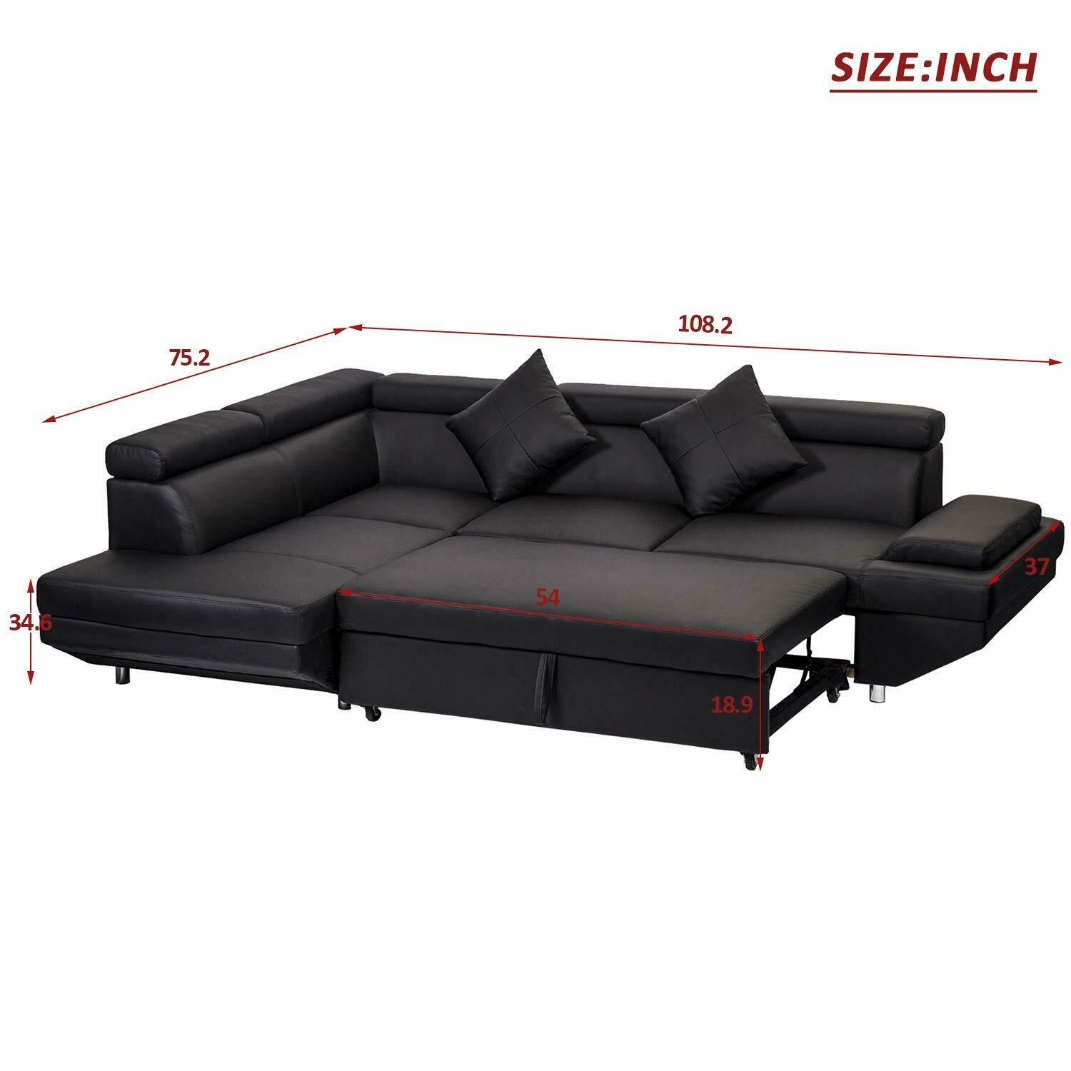 Details about Contemporary Sectional Modern Sofa Bed - Black with  Functional Armrest / Back L