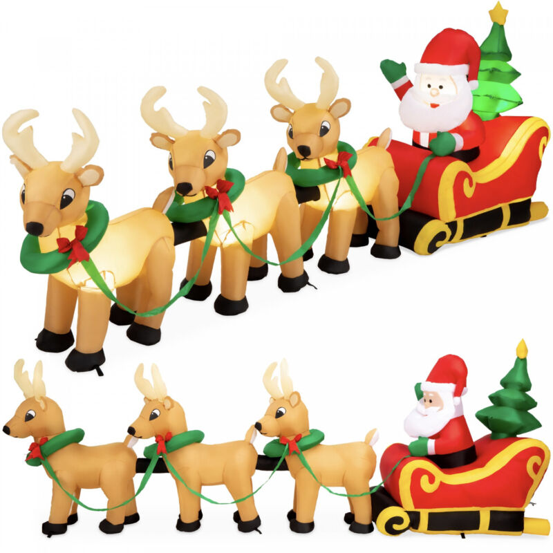Lighted Inflatable Santa Claus and Reindeer Christmas Decoration - 9ft versatile