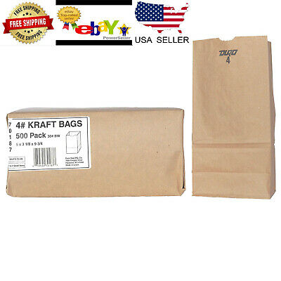 Duro Kraft Bags Brown Paper #4 500 Ct  Grocery Lunch Merchandise Sack