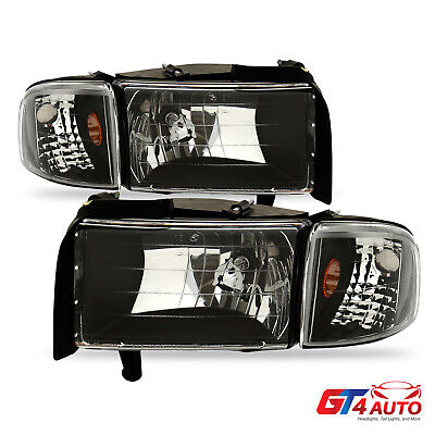 Black Clear Headlights & Corner Signal Lamps for '94-01 Dodge Ram 1500 2500 3500