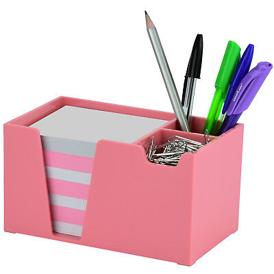 Acrimet Desk Organizer Pencil Paper Clip Holder Solid Pink Color With Paper