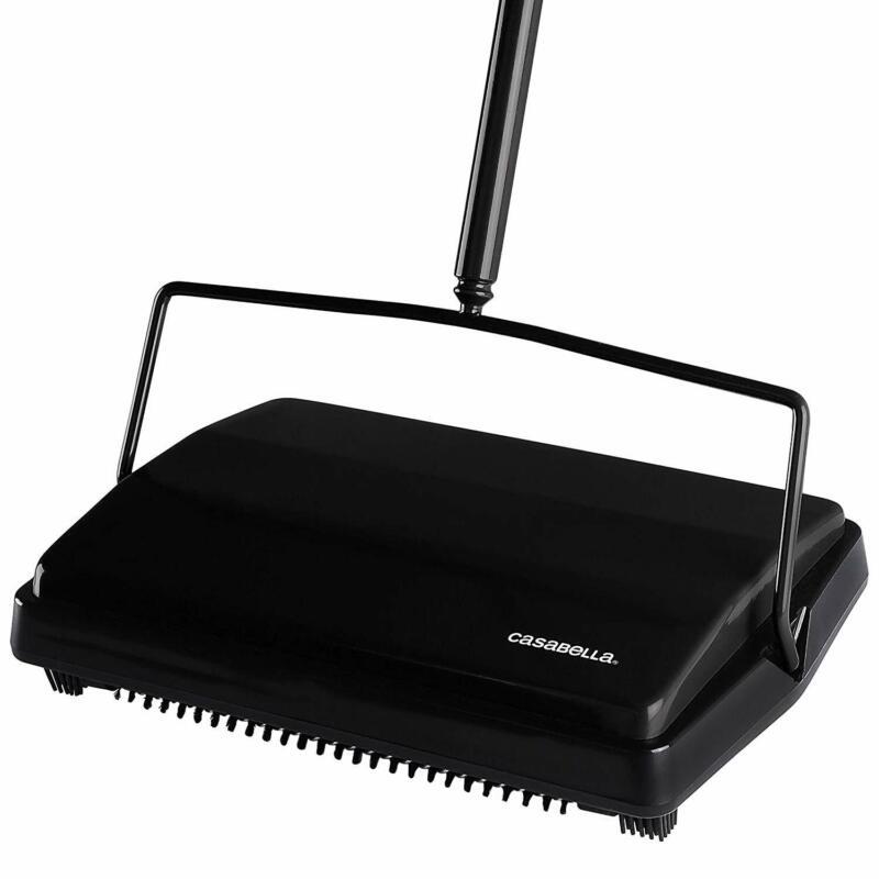 Casabella Carpet Sweeper 11 Inch Lightweight Electrostatic Floor Cleaner - Black