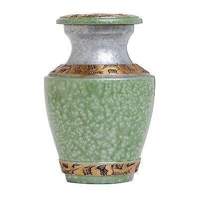 GREEN FUNERAL KEEPSAKE URN - NEW BRASS URN FOR HUMAN ASHES - Cremation urns