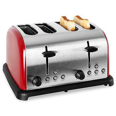 Tostapane Klarstein Sandwich Maker Toaster Vintage Tost 4 Piastre 1650W Rosso
