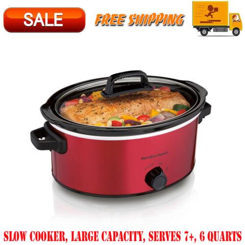 Slow Cooker, Large Capacity, Serves 7+, 6 Quarts, Red, Kitchen Appliances, 33666