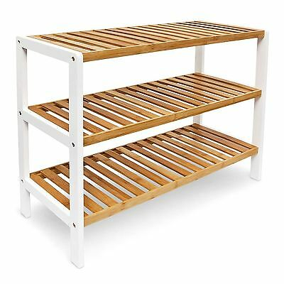 3 TIER NATURAL BAMBOO WOODEN SHOE RACK ORGANISER STAND STORAGE SHELF UNIT
