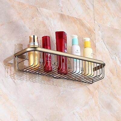 Wall Mount Antique Brass Bathroom Cosmetic Storage Shelf Shower Caddy Holder Shower Caddy Brass