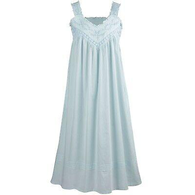 La Cera Cotton Chemise - Lace V-Neck Nightgown with Pockets -