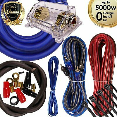 Complete 5000W 0 Gauge Car Amplifier Installation Wiring Kit Amp PK3 0 Ga Blue