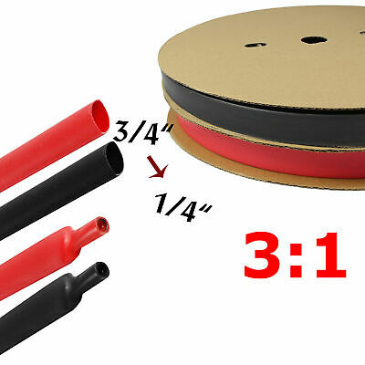 Black Red Heat Shrink Tubing Kit Dual Wall Adhesive Wire Wrap Tube 31 Ratio